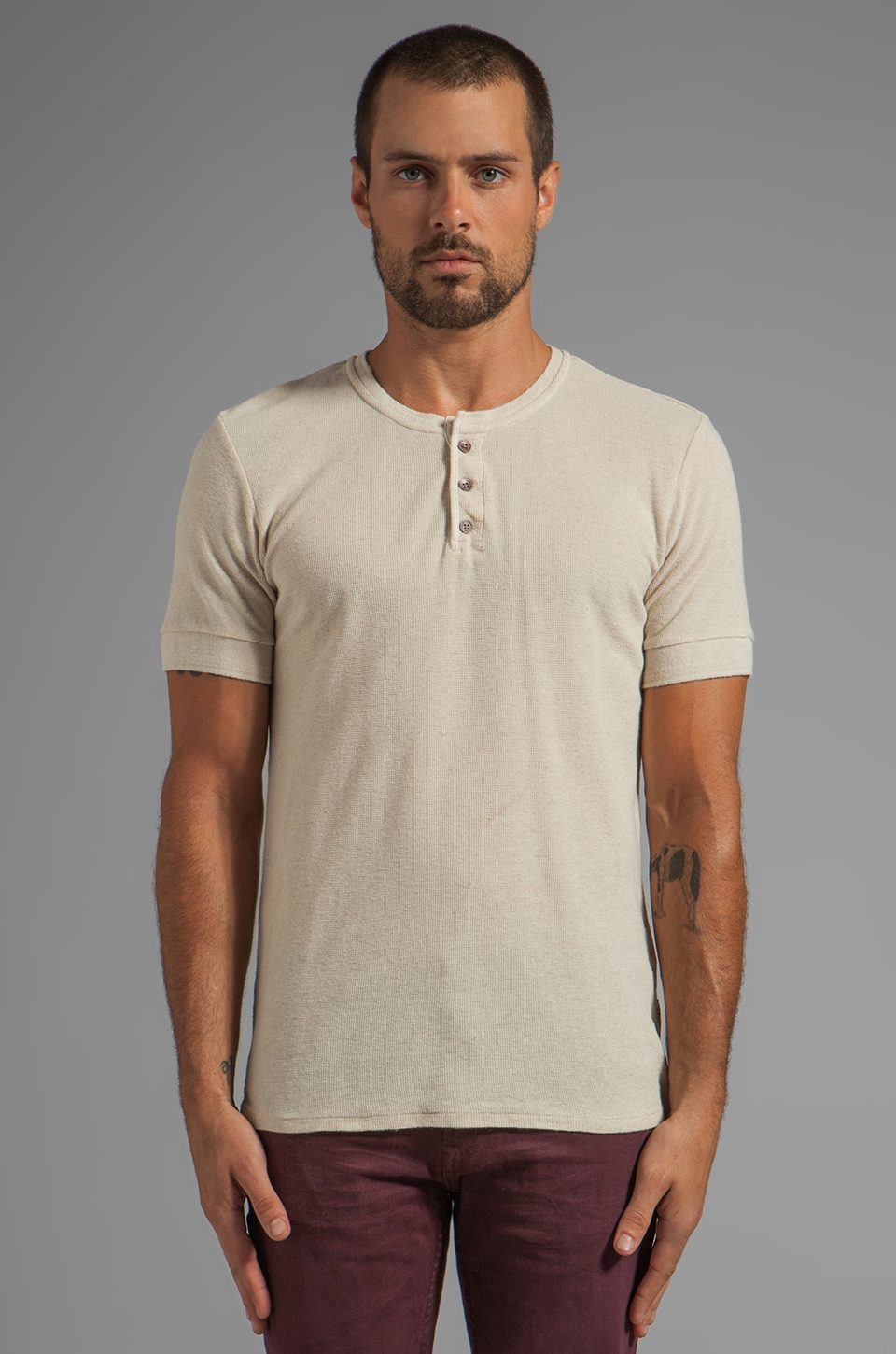 Scotch & Soda Short Sleeve Home Alone Henley in Ecru