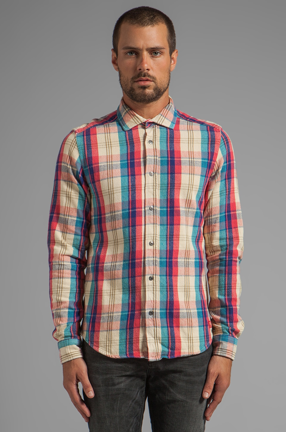 Scotch & Soda Long Sleeve Dress Flannel Shirt in Red/Blue