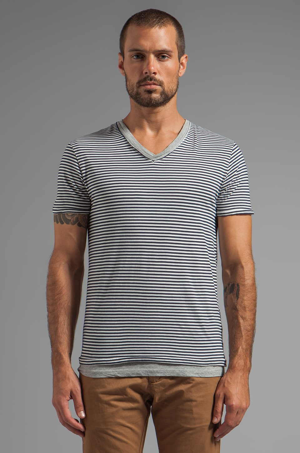 Scotch & Soda Basic Double Layer V-Neck in Navy