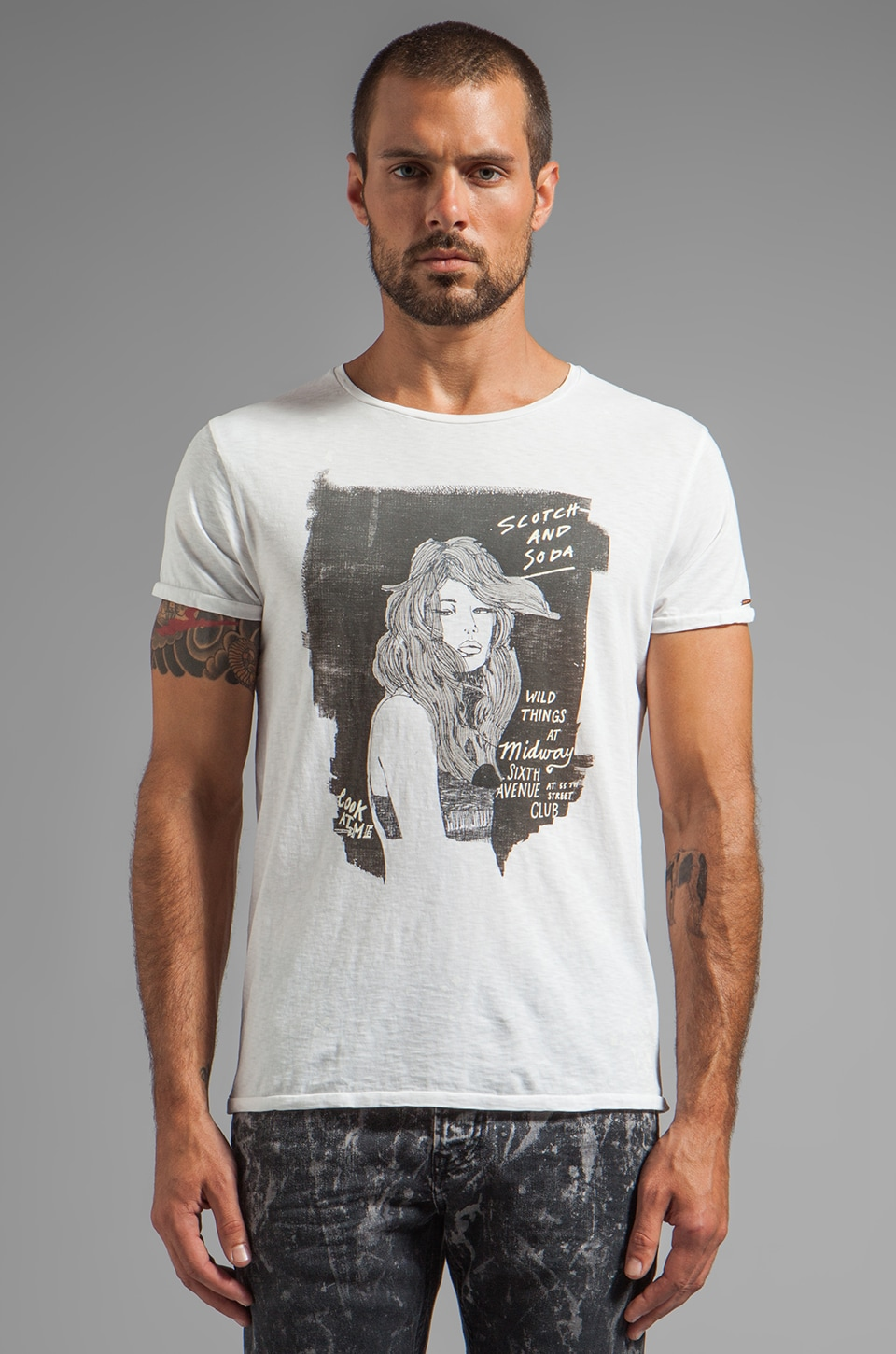 Scotch & Soda Black & White Serie Tee in White