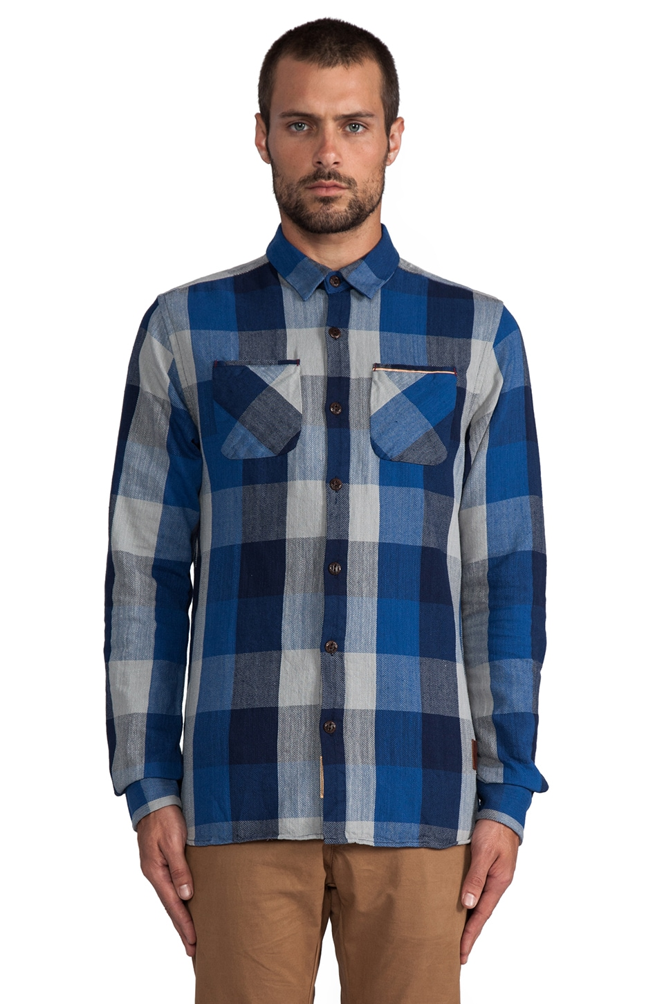 Scotch & Soda Flannel Block Check Shirt in Blue/Grey