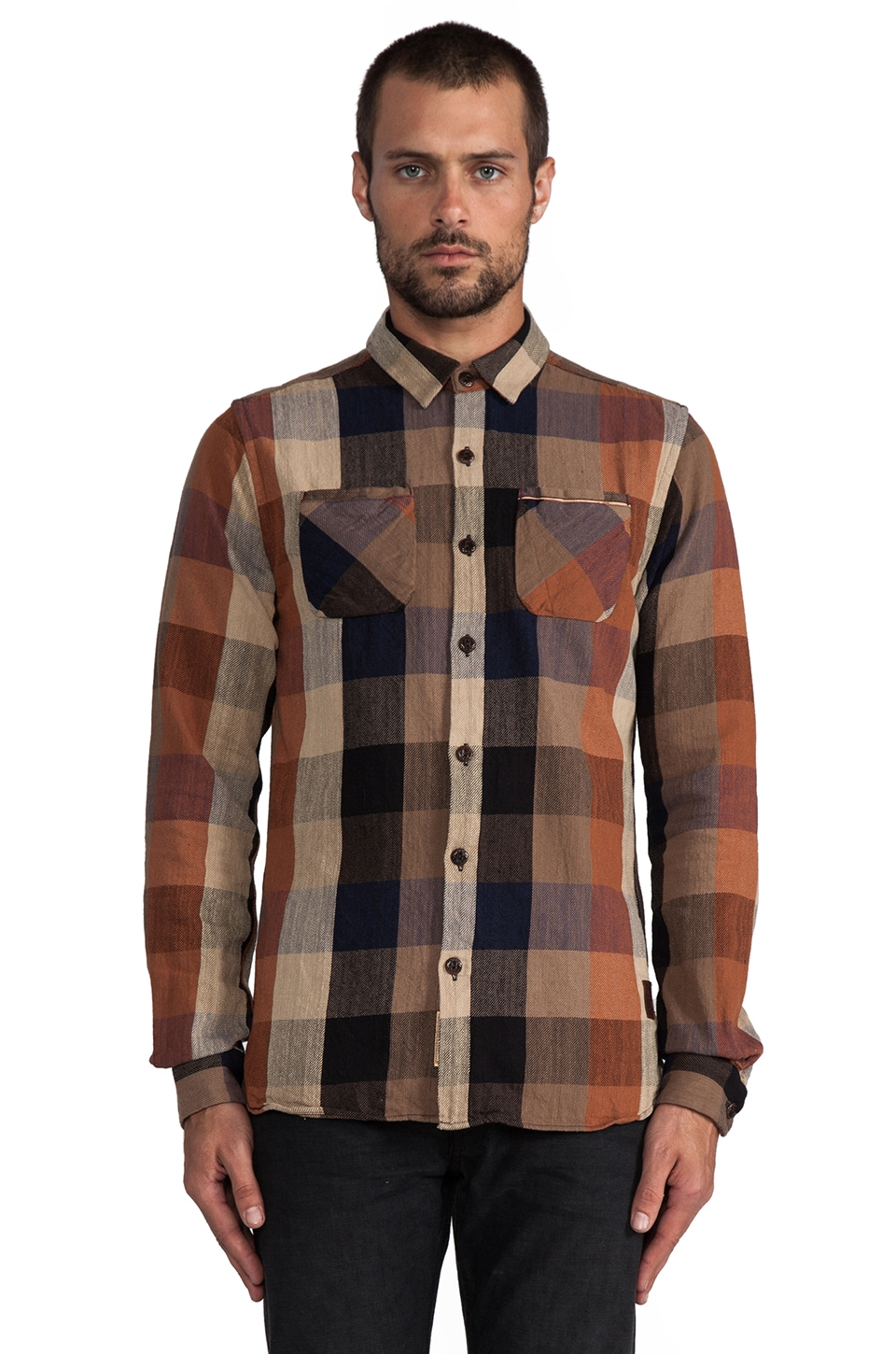 Scotch & Soda Flannel Block Check Shirt in Brown/Blue