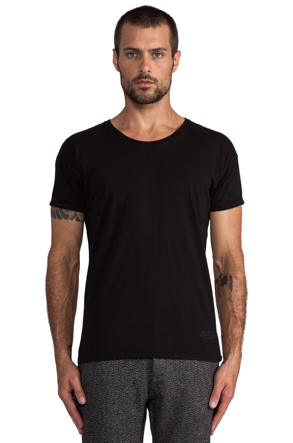 Scotch & Soda Sun Faded Crew Neck Tee in Black