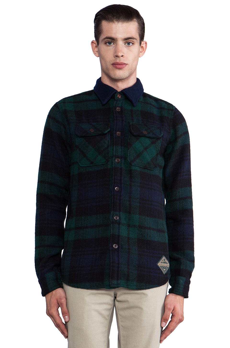 Scotch & Soda Wool Button Down in Navy/Green