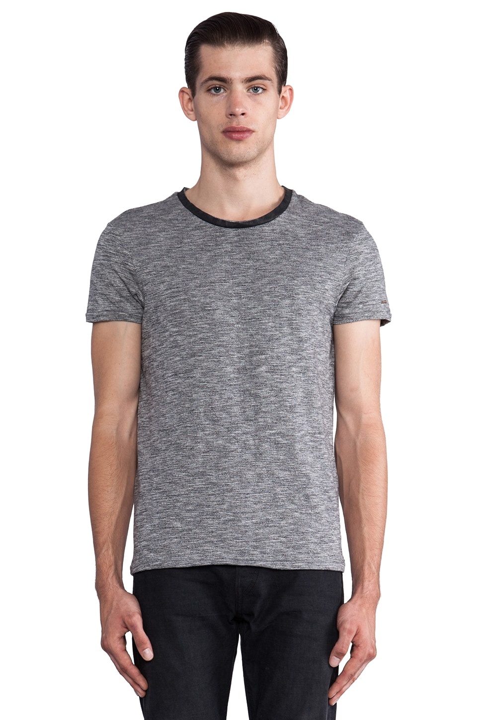 Scotch & Soda Crew Melange Serie Tee w/ Leather Collar in Charcoal