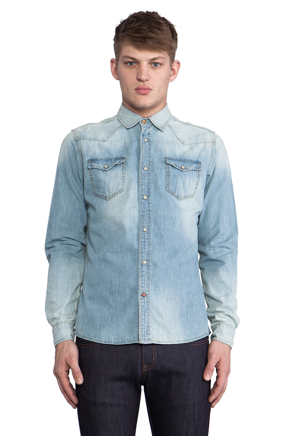 Scotch & Soda Blue Denim Western Shirt in Denim