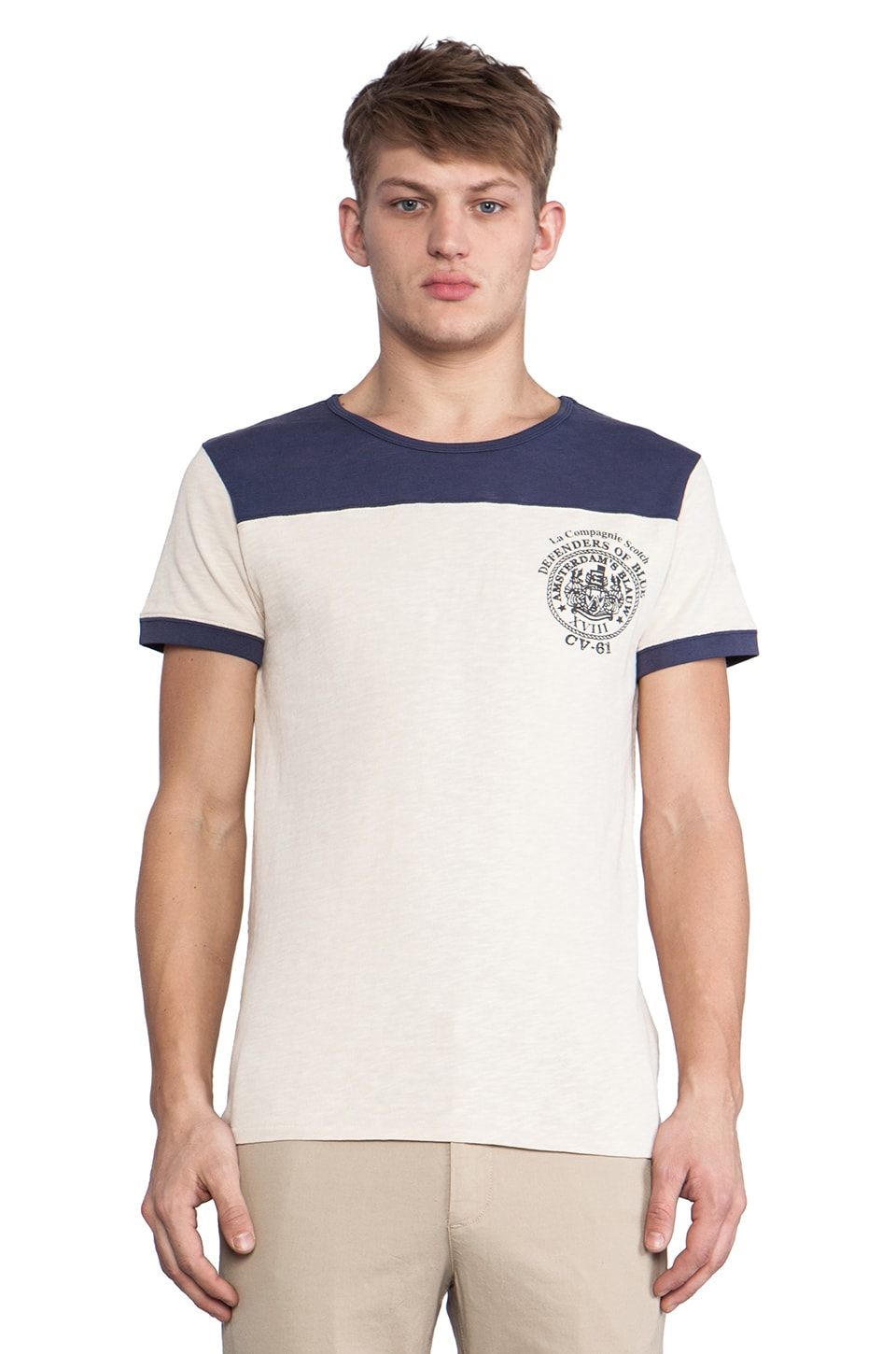 Scotch & Soda Military Rocker Tee in Ecru & Navy