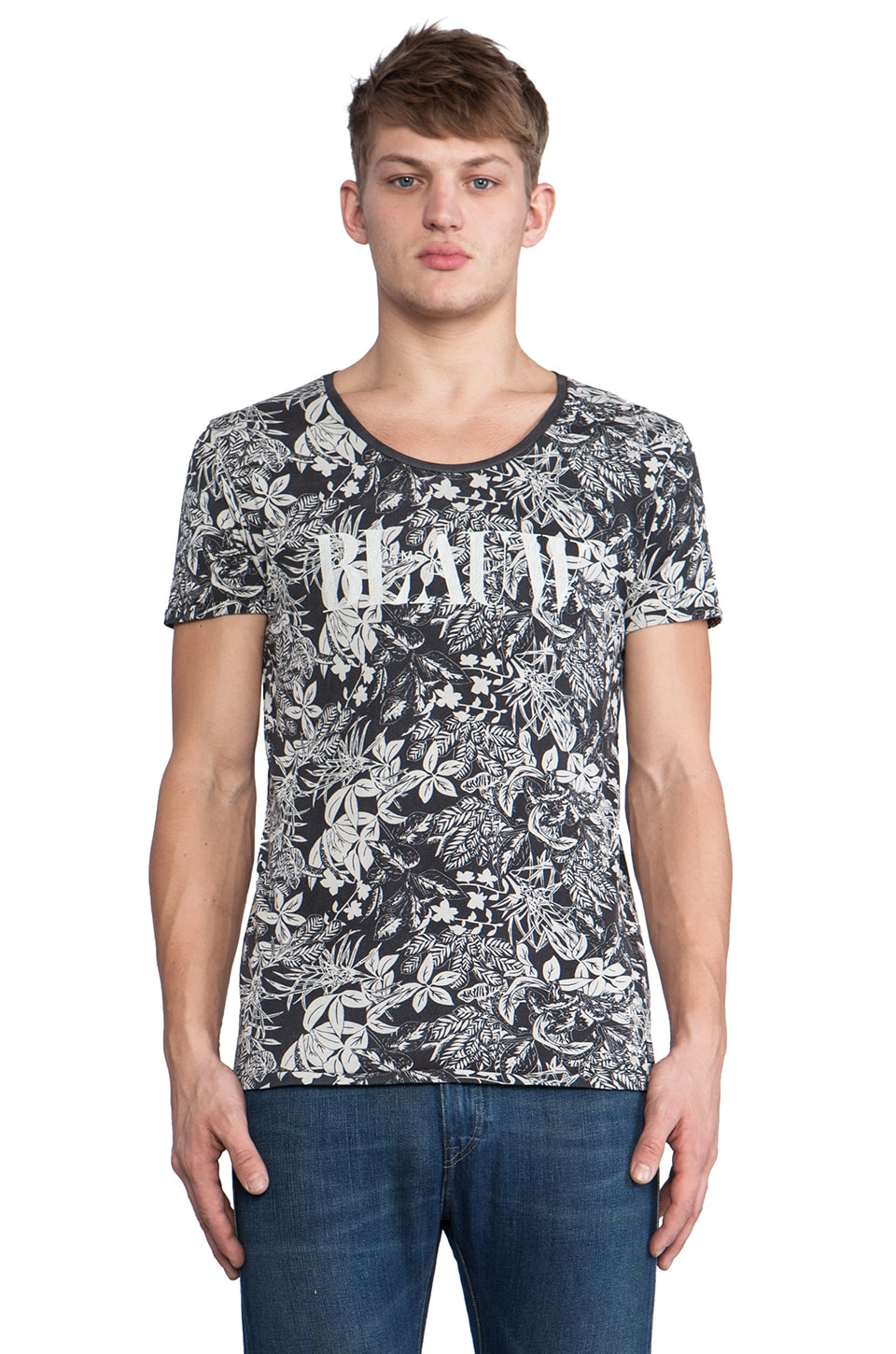 Scotch & Soda Blauw Tee in Black Floral