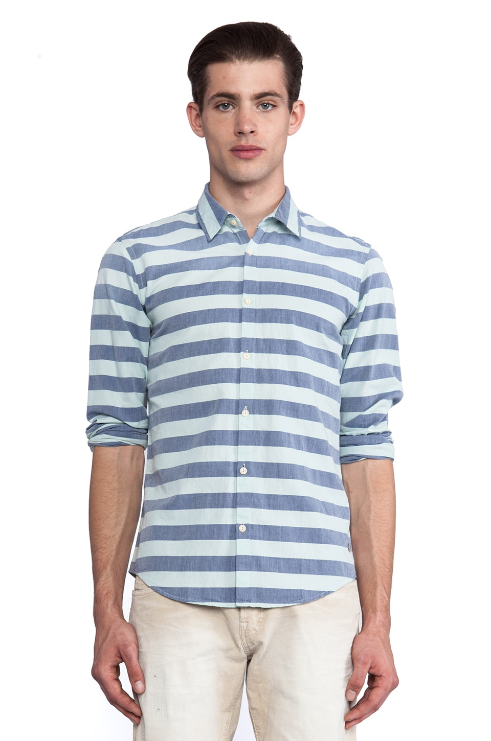 Scotch & Soda Lightweight Oxford Shirt in Solid & Dessins in Blue & Spearmint