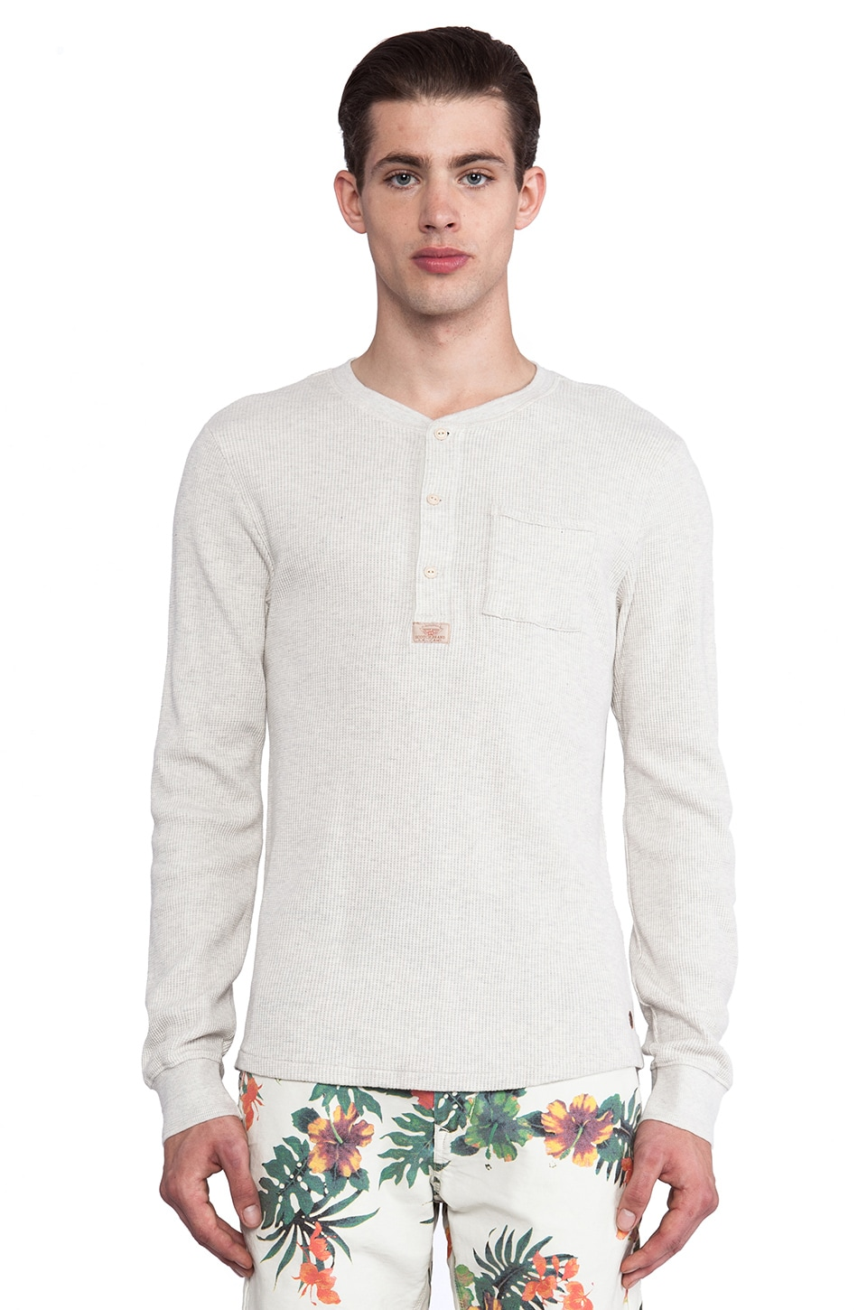 Scotch & Soda Long Sleeve Waffle Structured Granddad w/ 3D Ribs in Ecru Melange