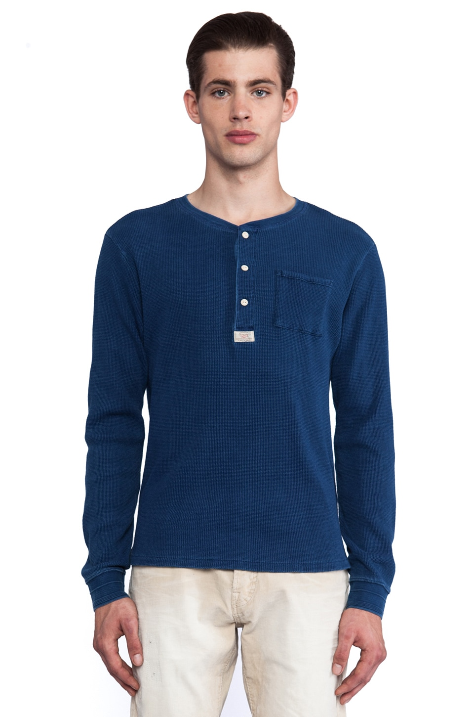 Scotch & Soda Long Sleeve Waffle Structured Granddad w/ 3D Ribs in Washed Indigo