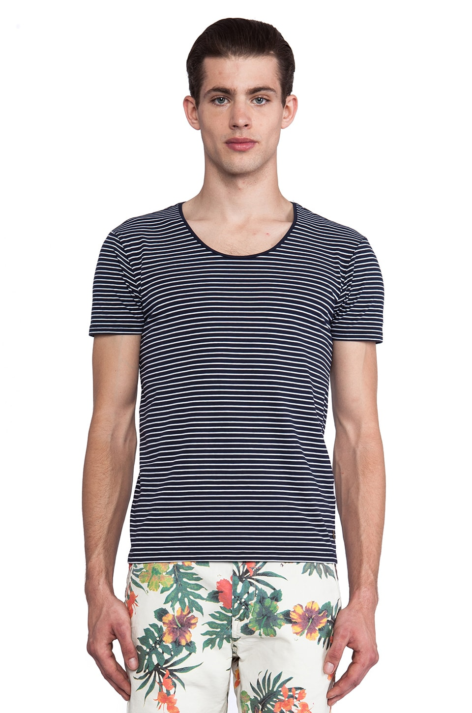 Scotch & Soda Basic Crewneck Striped Tee in Navy & White