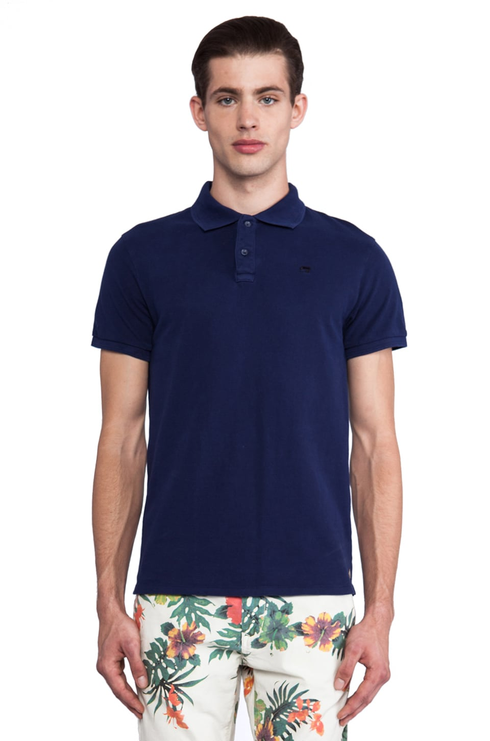 Scotch & Soda Classic Garment Dye Pique Polo in Electric Blue