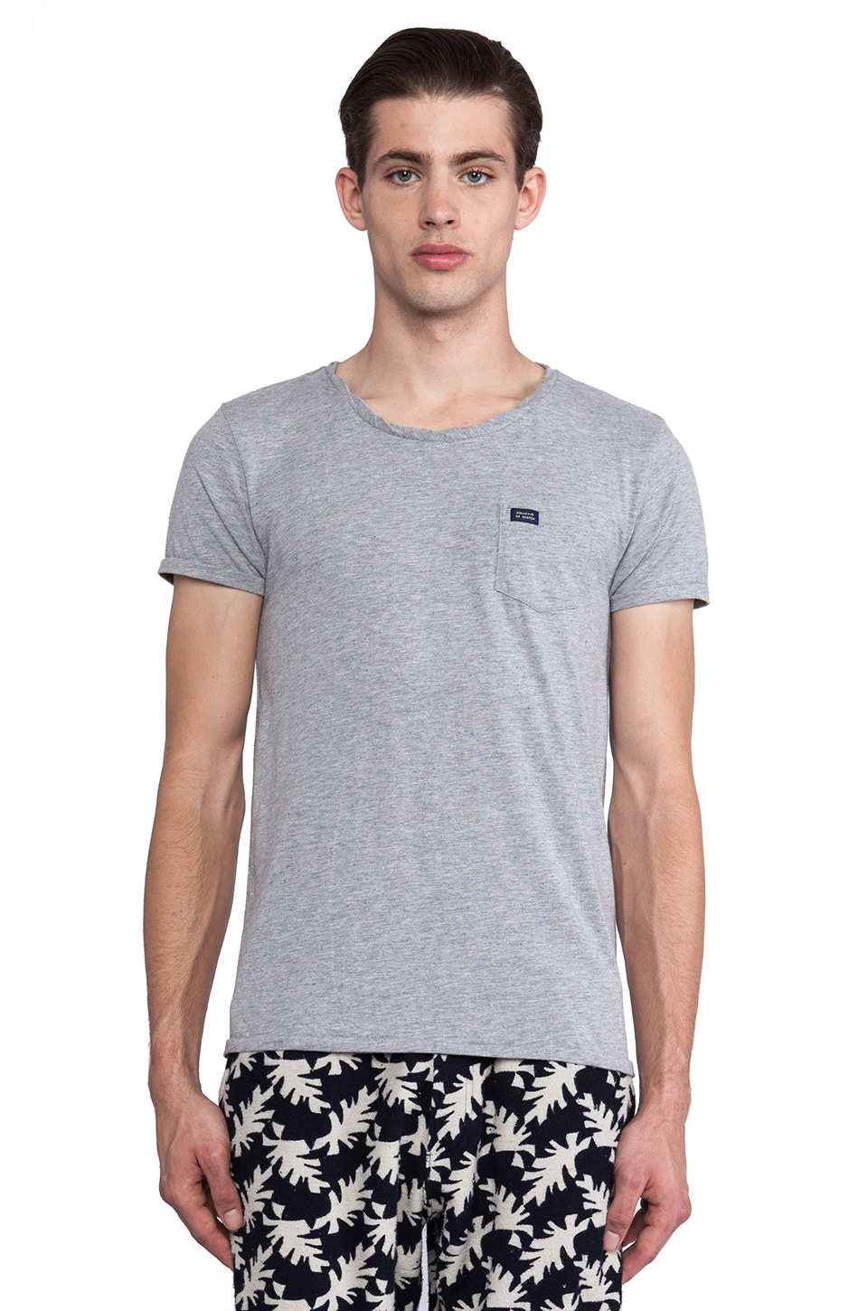 Scotch & Soda Classic Crewneck Tee w/ Chest Pocket in Grey
