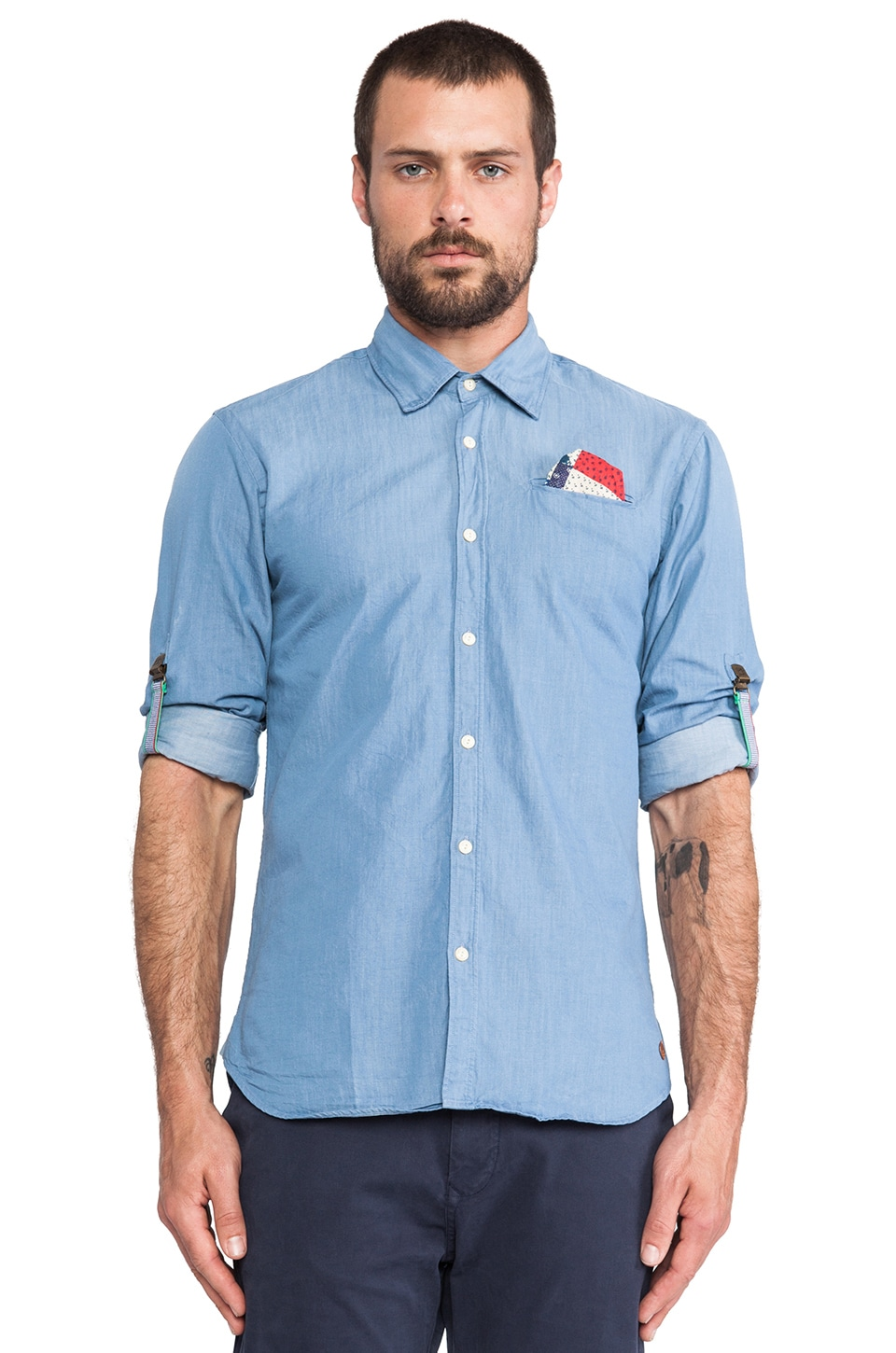Scotch & Soda Crispy Poplin Shirt w/ Sleeve Rollup Suspenders in Blue