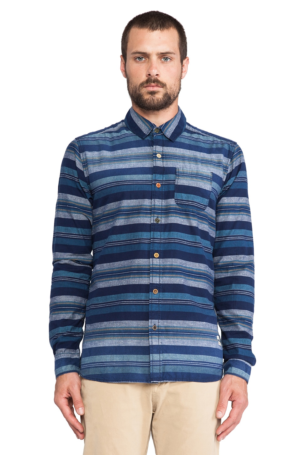 Scotch & Soda Striped & Bath Pattern Button down Shirt in Blue