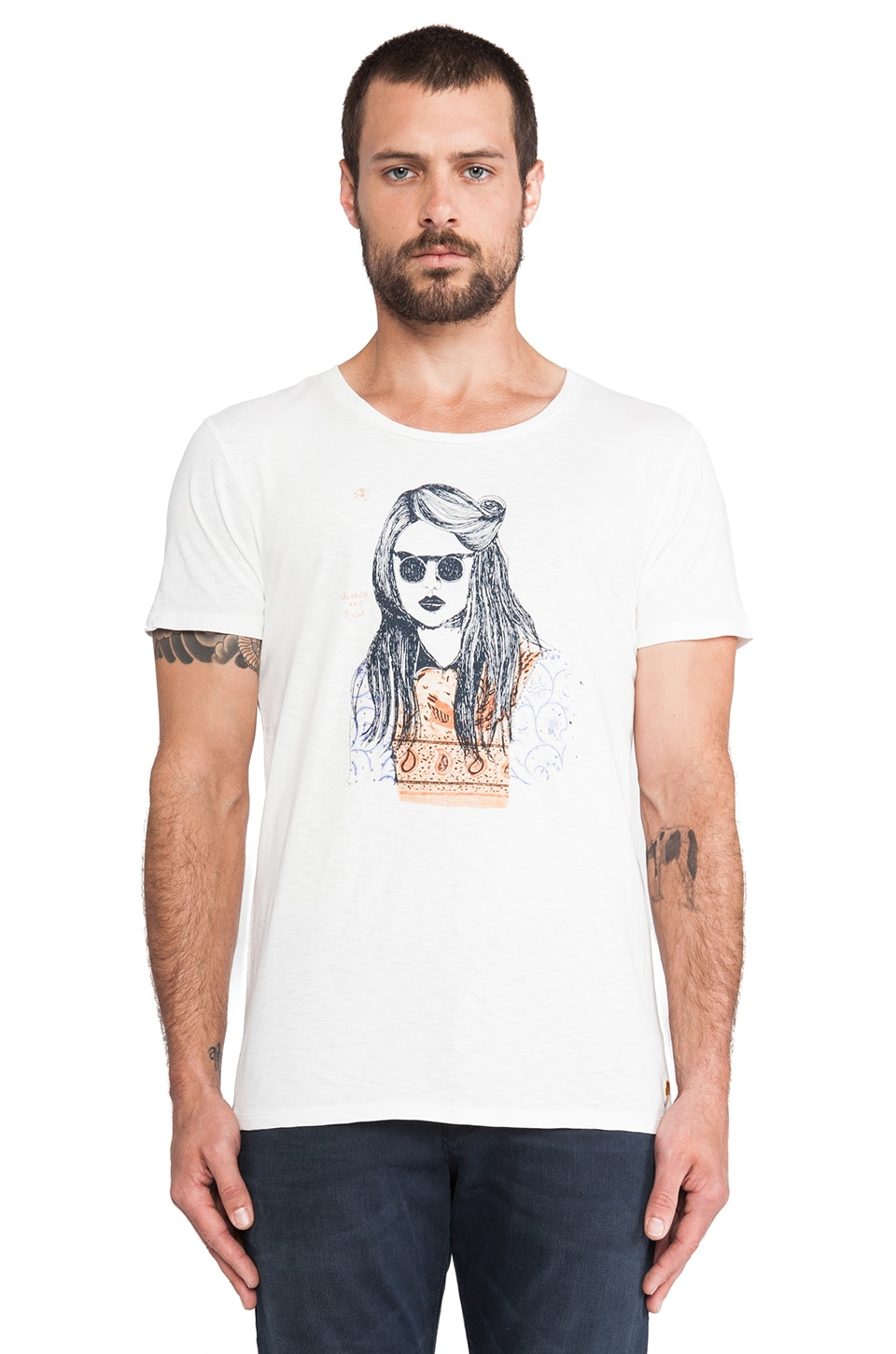 Scotch & Soda 3x Different Artwork Crewneck Tee in White