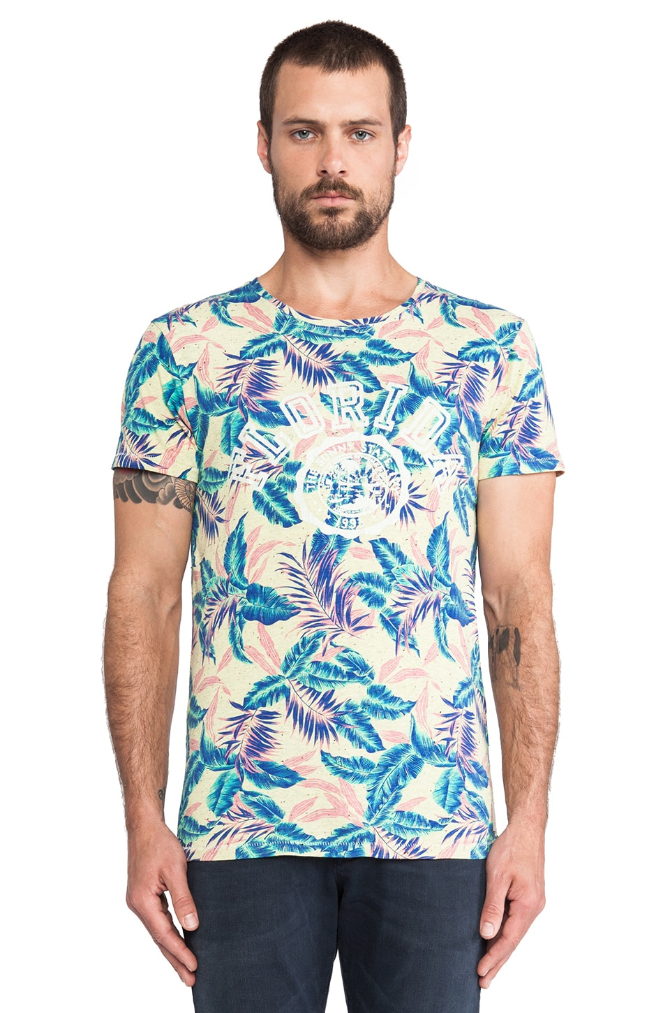 Scotch & Soda Allover Printed Tee in Yellow & Multi