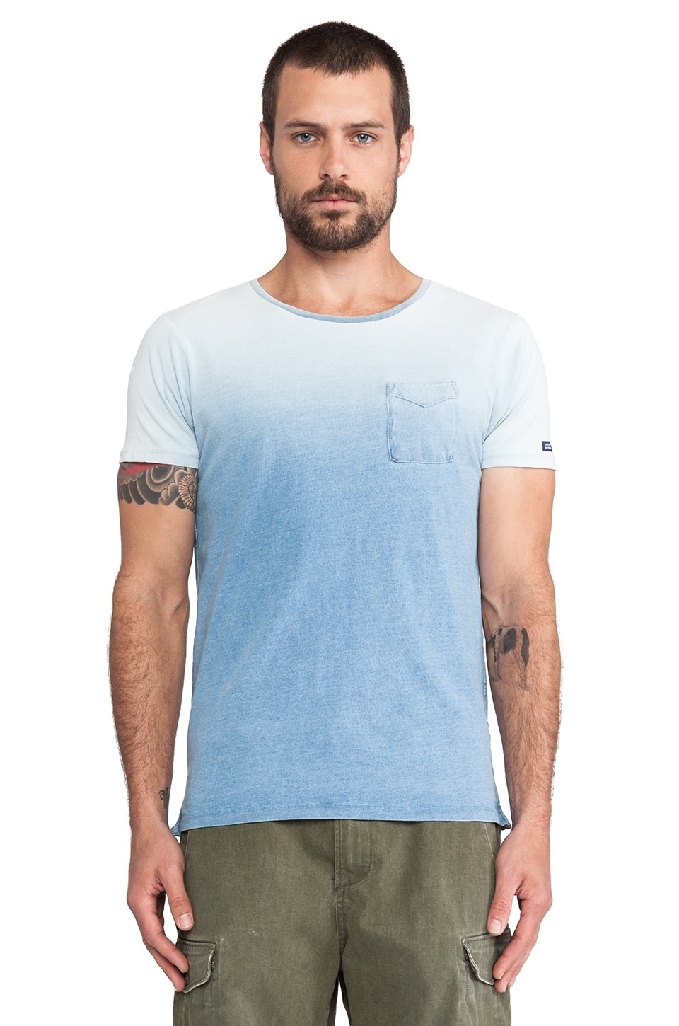 Scotch & Soda Indigo Tee in Stripes, Dessin & Solid in Washed Indigo