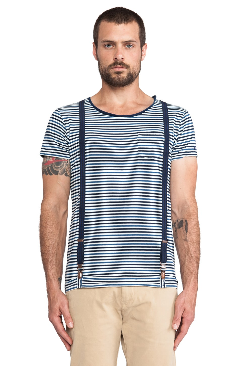 Scotch & Soda Crewneck Suspender Tee in Indigo