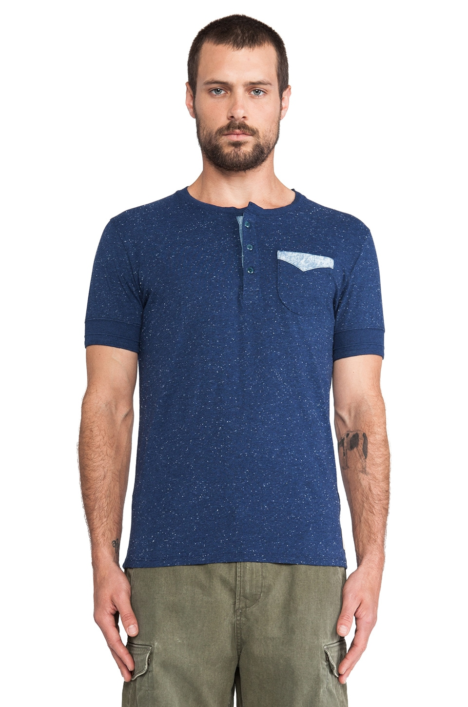 Scotch & Soda Denim Short sleeve Grandad Tee w/ Chunky Naps in Indigo