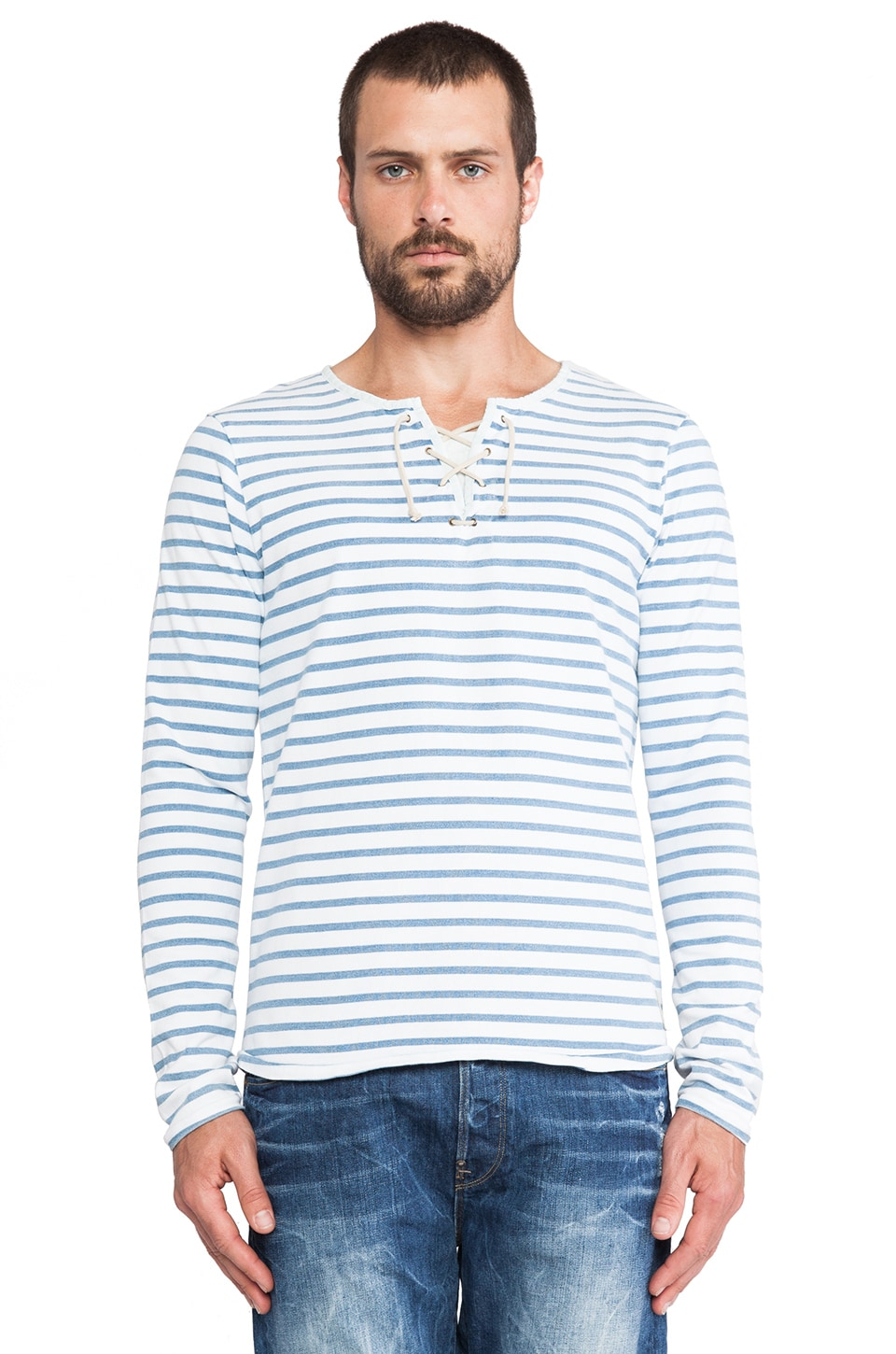 Scotch & Soda Long sleeve Striped Tee w/ Drawcord Closure in White/Indigo