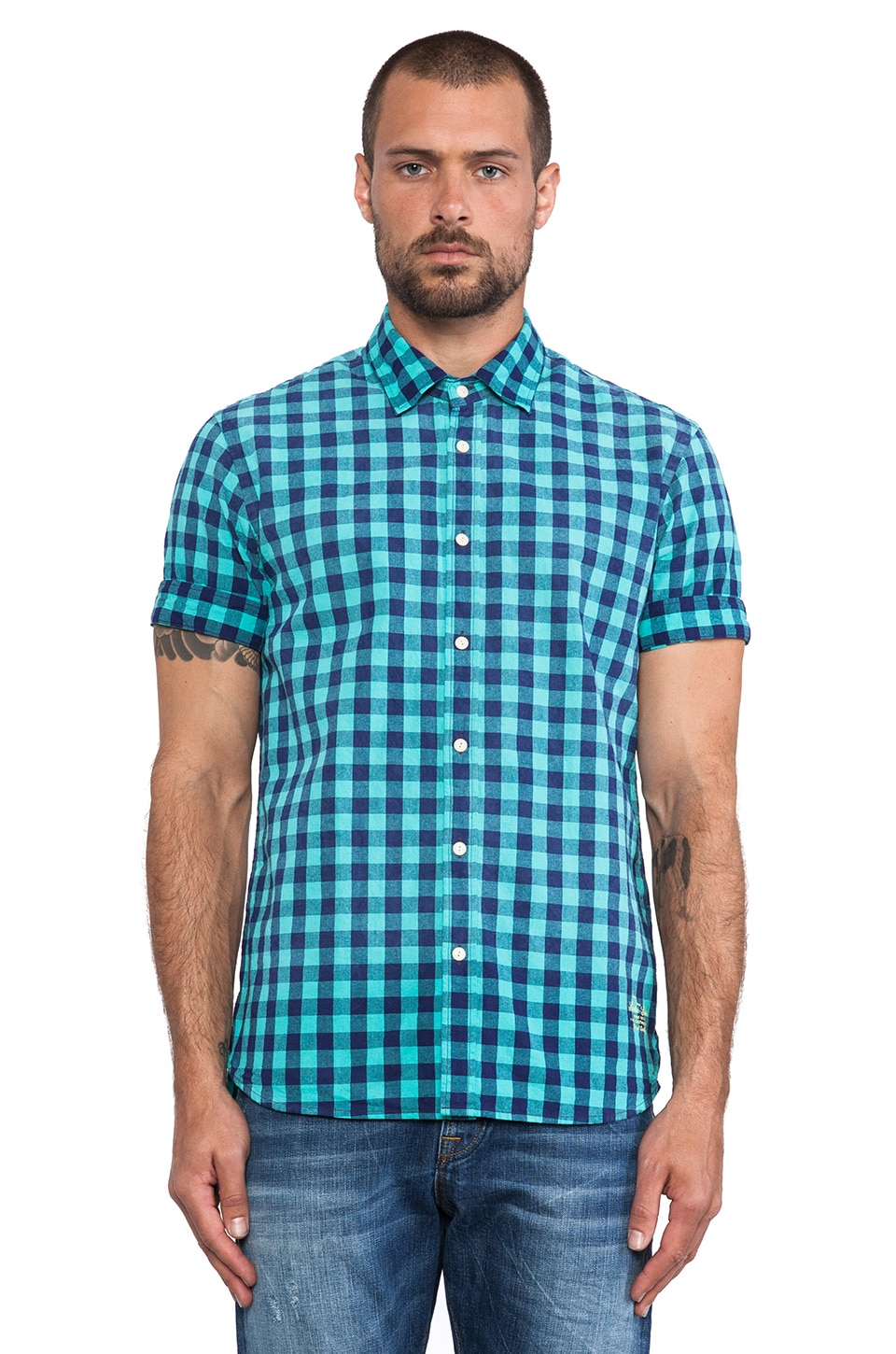 Scotch & Soda Bleach Effect Check Shirt in Mint & Blue
