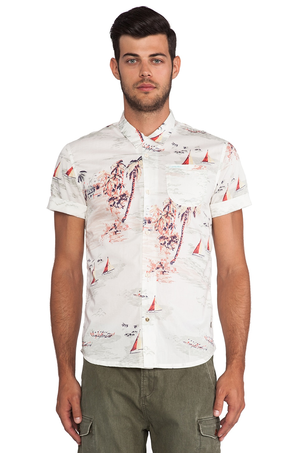 Scotch & Soda Beach Print Shirt in White & Multi