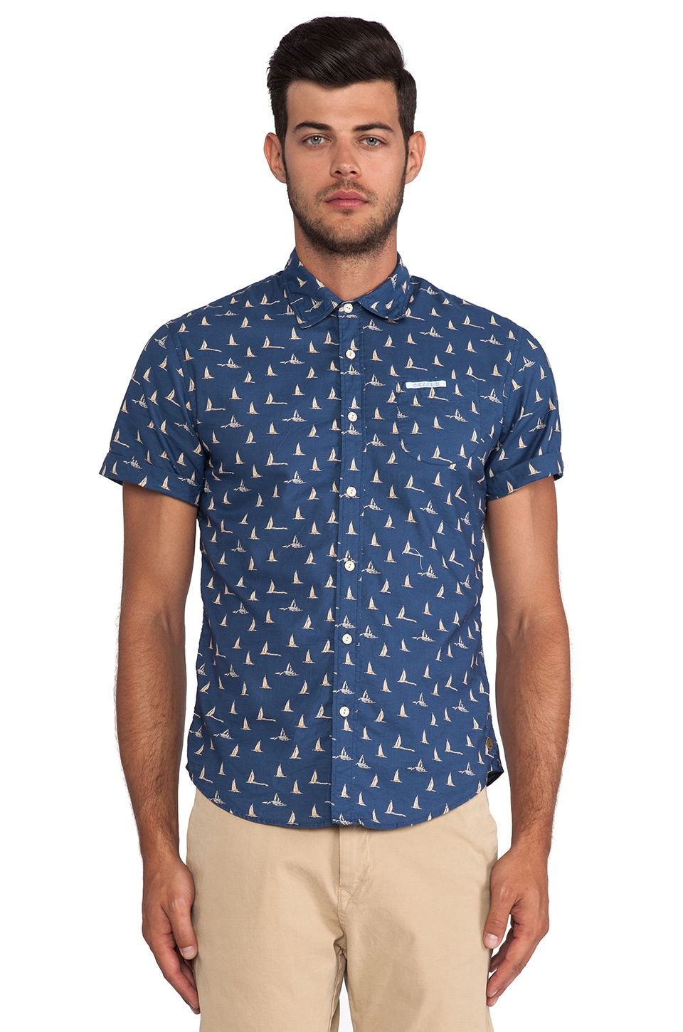 Scotch & Soda Contrast Rollup Shirt in Blue