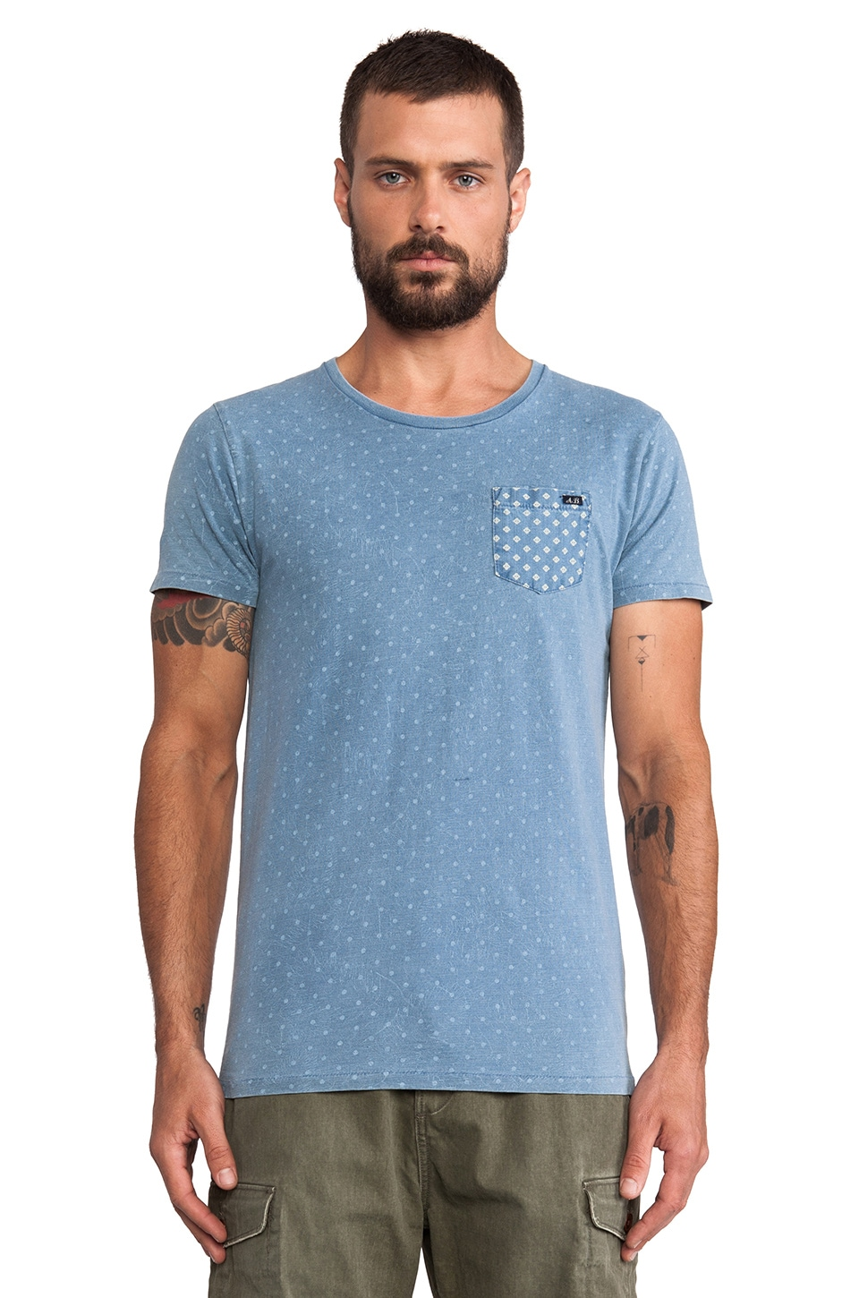 Scotch & Soda Amsterdams Blauw Dandy Indigo Allover Tee in Blue