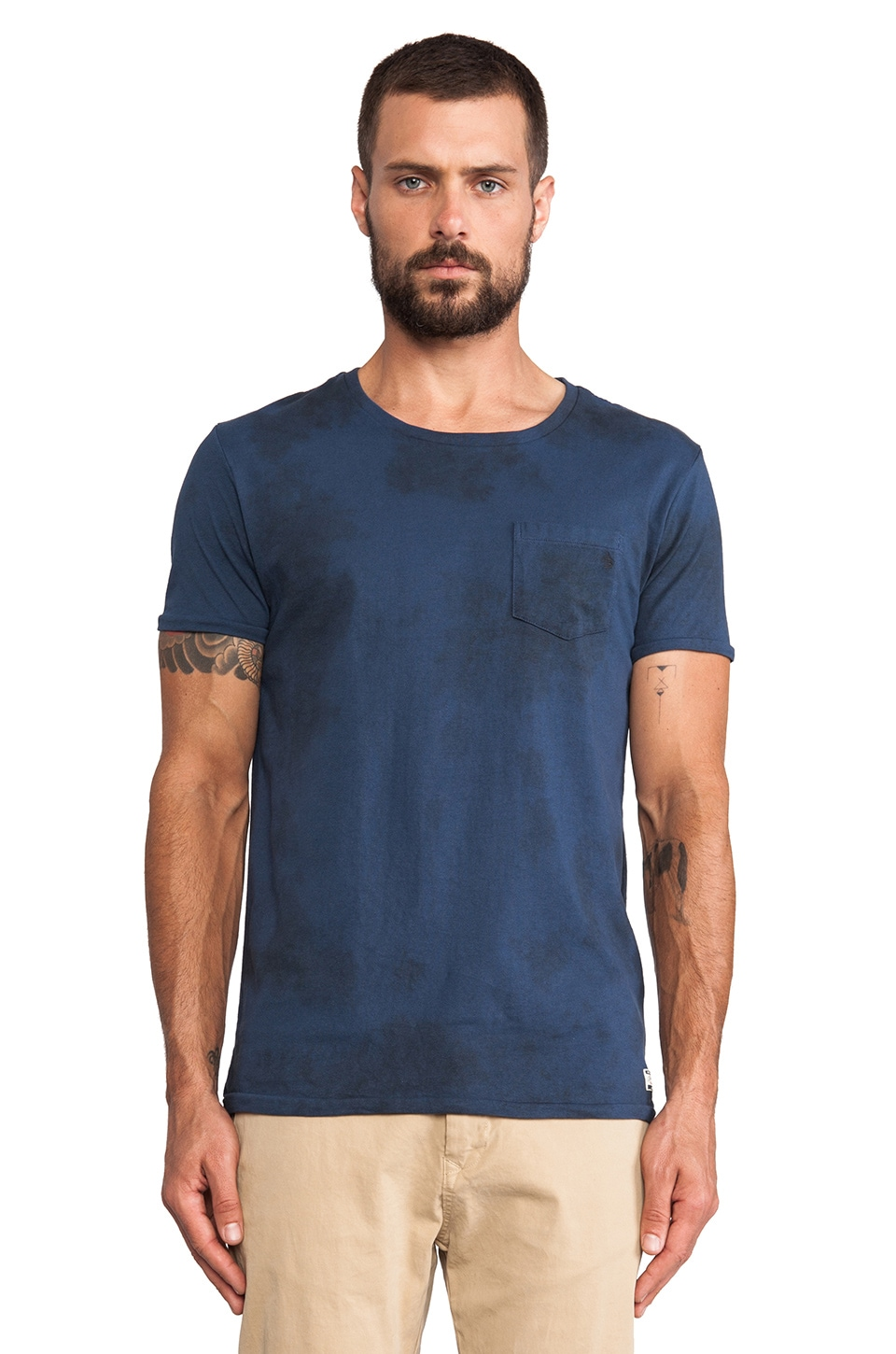 Scotch & Soda 1 Pocket Boxy Garment Dyed Tee in Navy