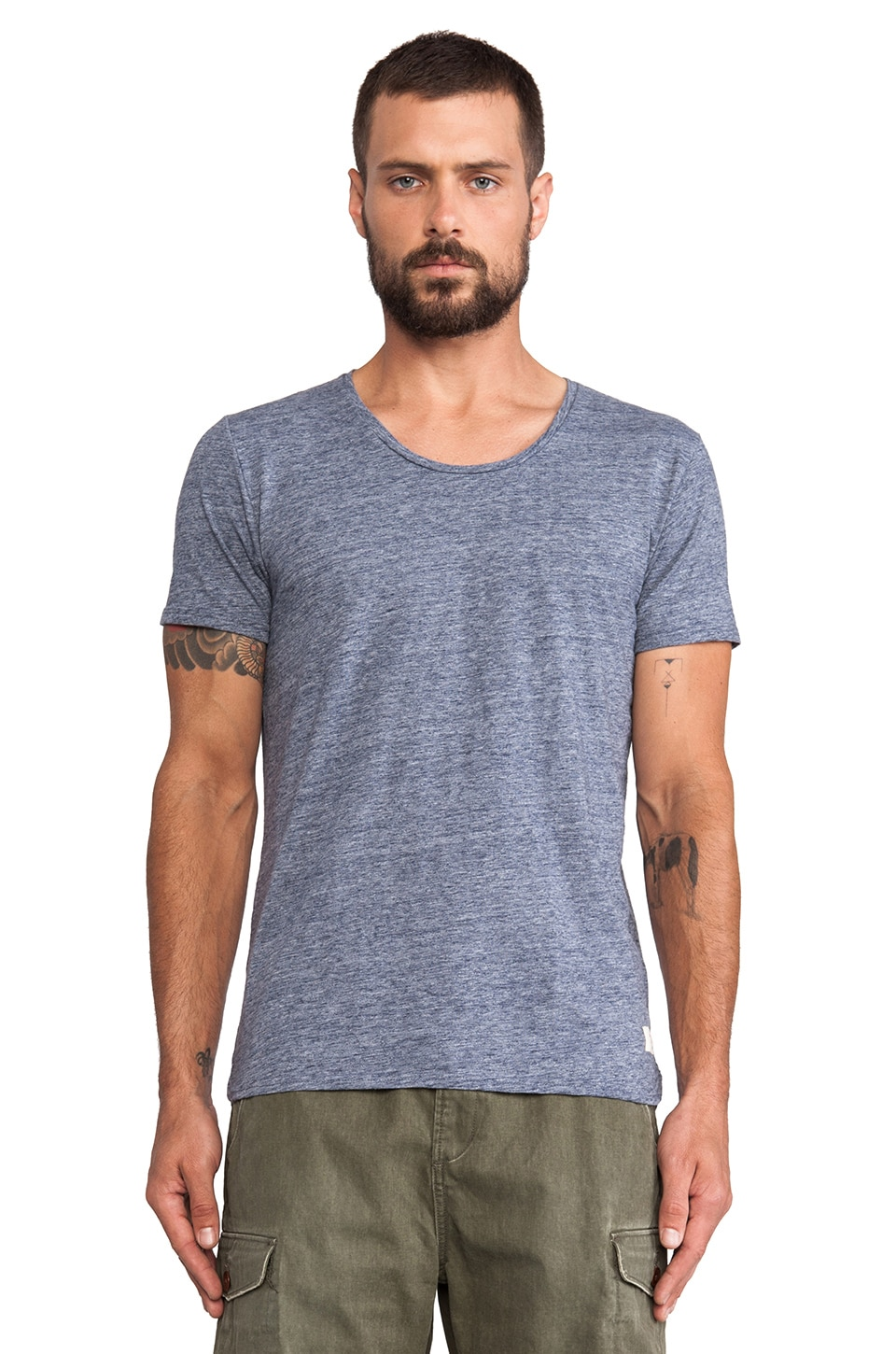 Scotch & Soda Home Alone Crew Neck Tee in Denim Blue Melange