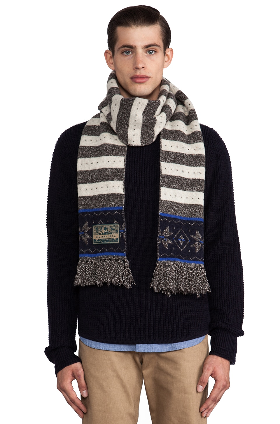 Scotch & Soda Intarsia Knitted Scarf in Off White/Grey