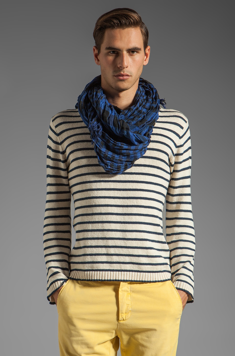 Scotch & Soda Scarf in Indigo/Black Check
