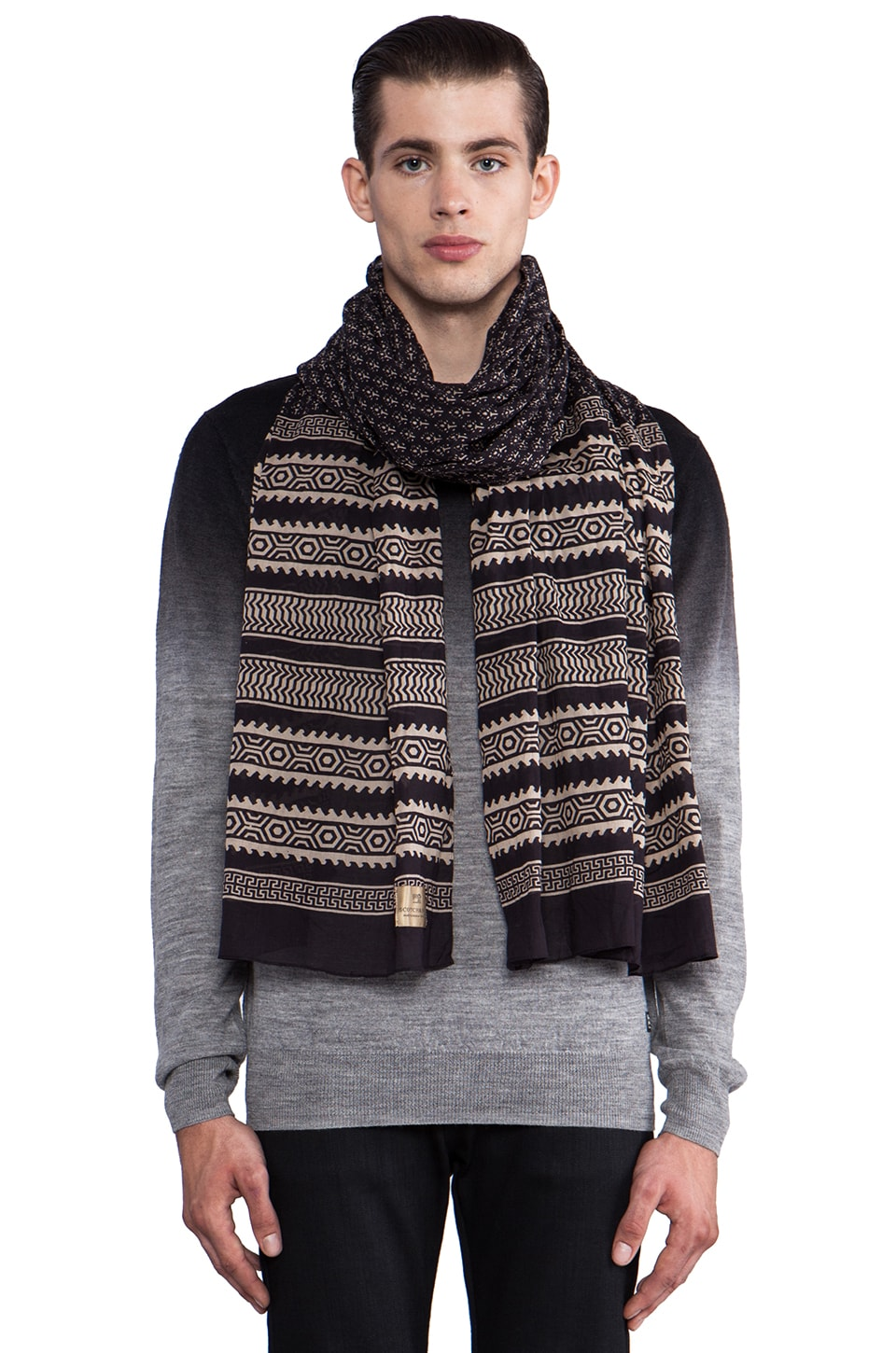Scotch & Soda Ethnic Allover Printed Scarf in Black
