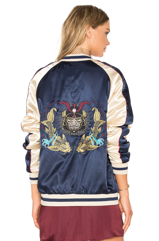 Standard Issue Samurai Bomber Jacket in Navy & Gold