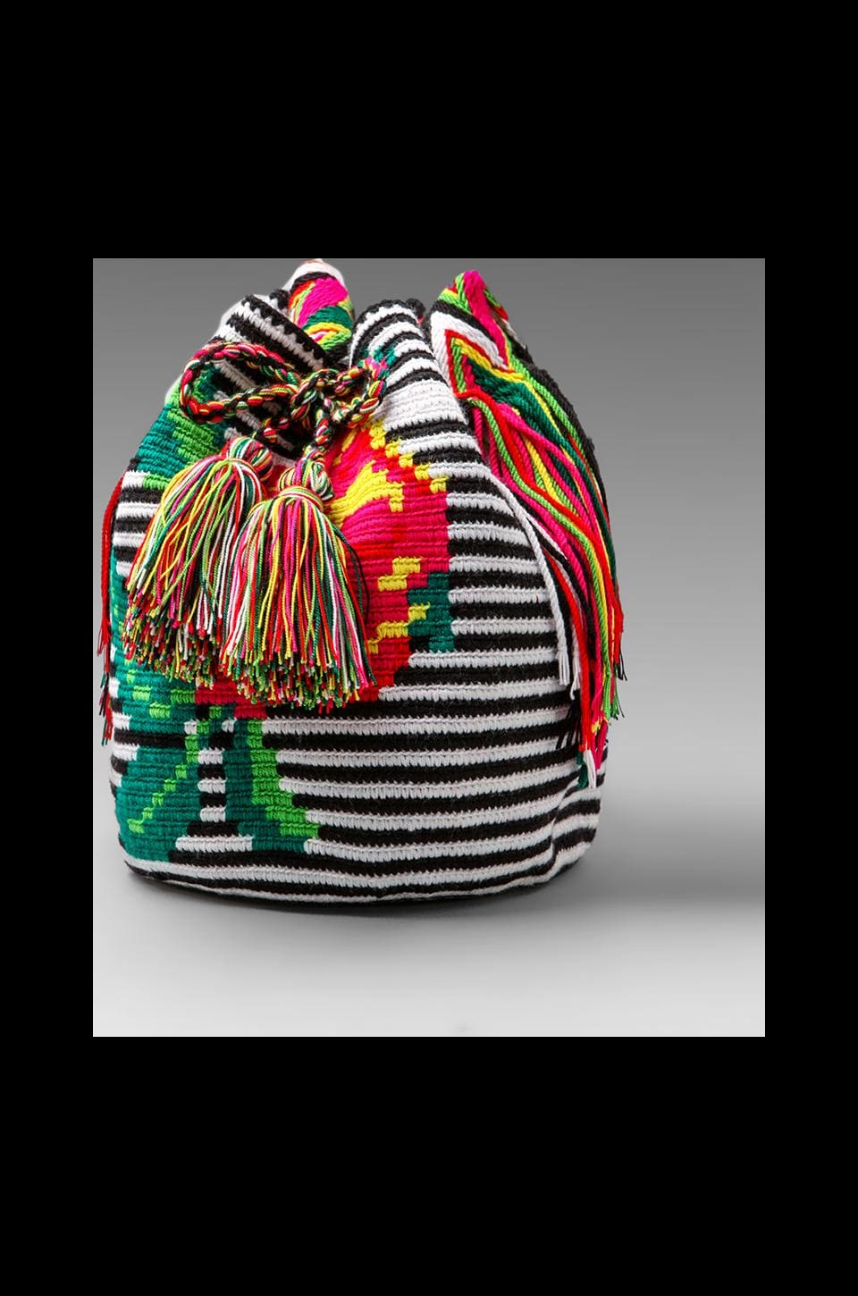 STELA 9 Pachamama Woven Bucket Bag in Black/White Floral