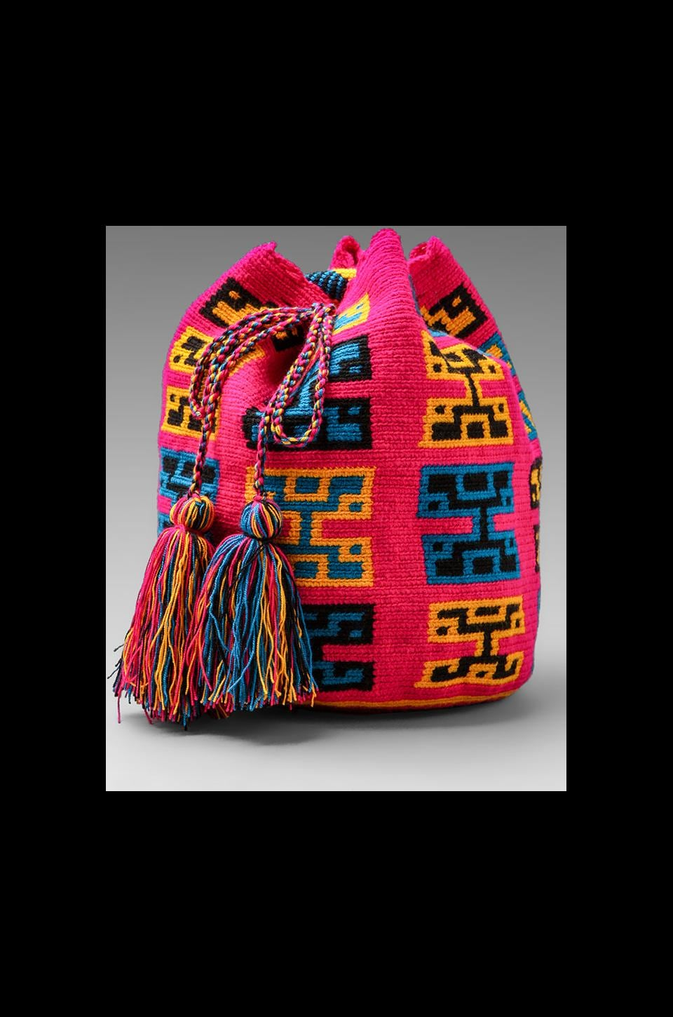 STELA 9 Pachamama Woven Bucket Bag in Pink