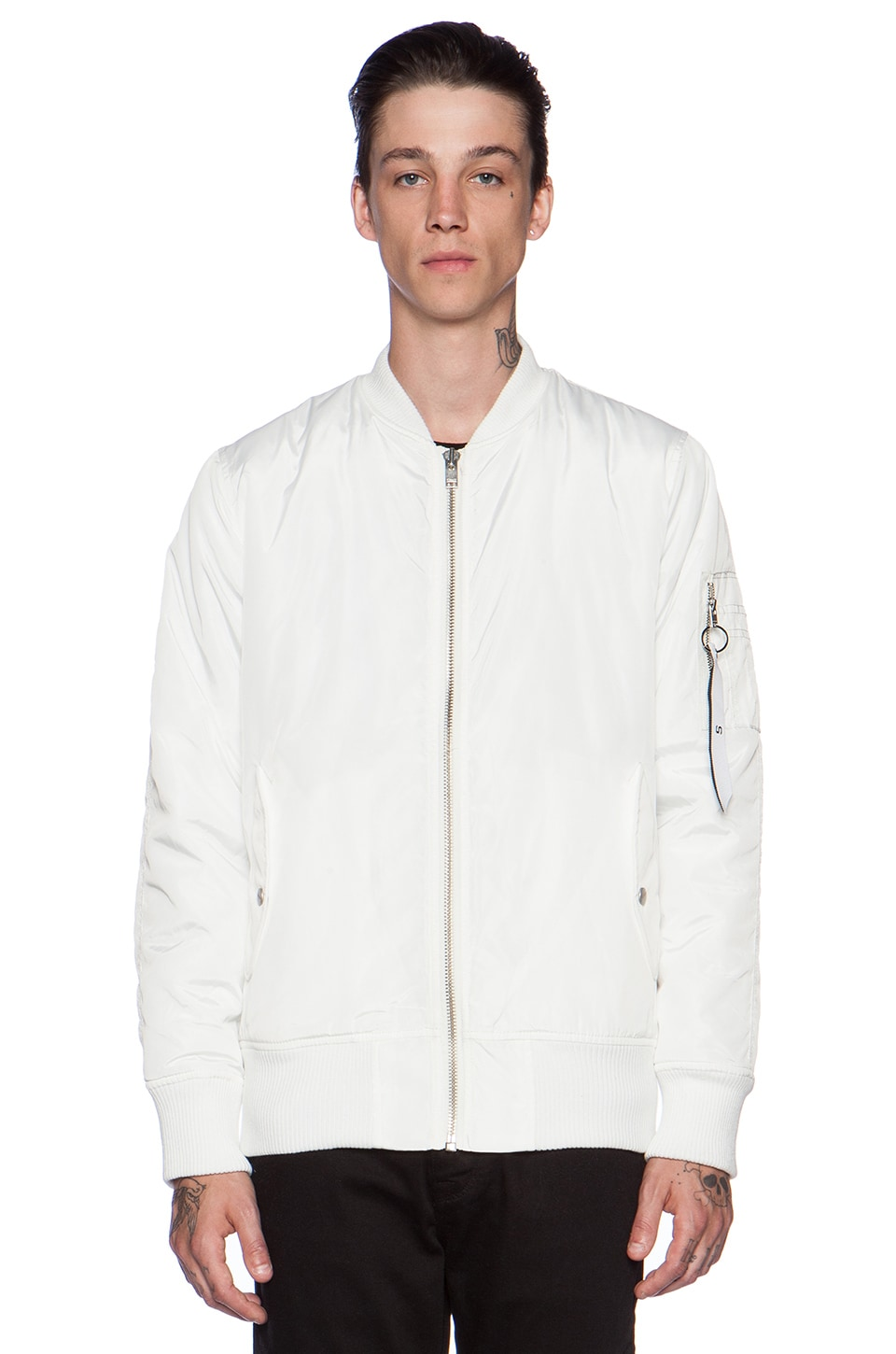 Stampd Flight Bomber Jacket in White | REVOLVE