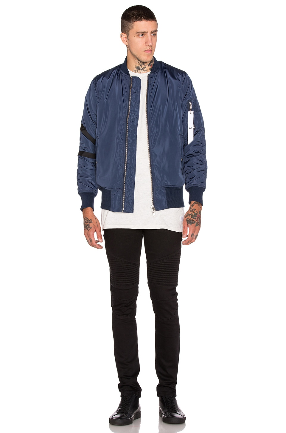Stampd Strapped Bomber Jacket in Navy | REVOLVE