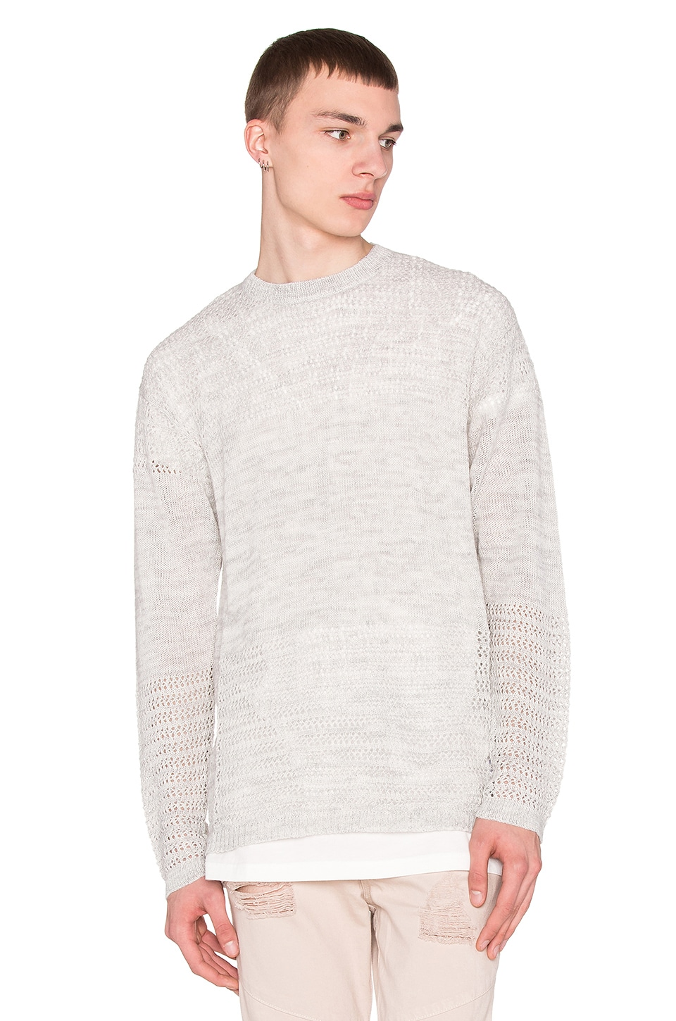 Stampd Drop Needle Pullover in Heather Cream