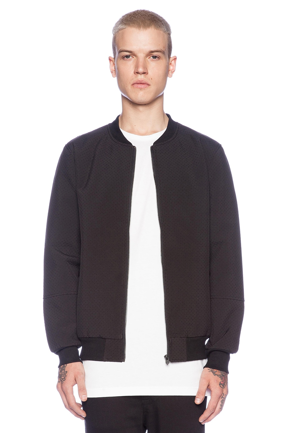Stampd Perforated Neoprene Bomber Jacket in Black | REVOLVE