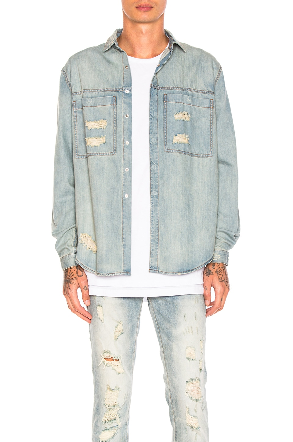 Distressed Against Denim Shirt by Stampd