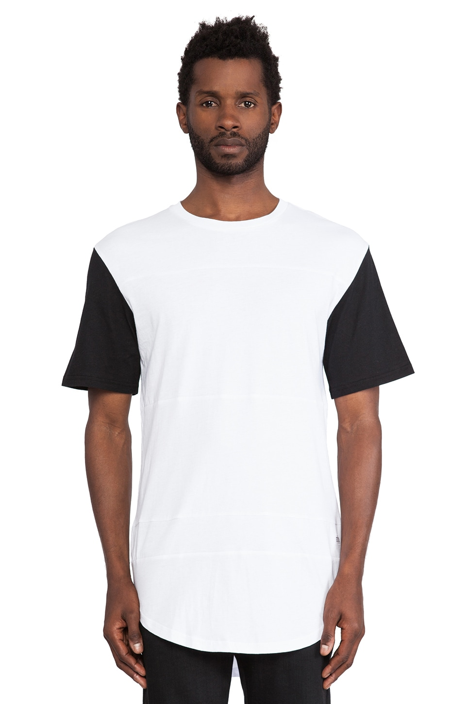 Stampd Color Block Panel Tee in Black & White