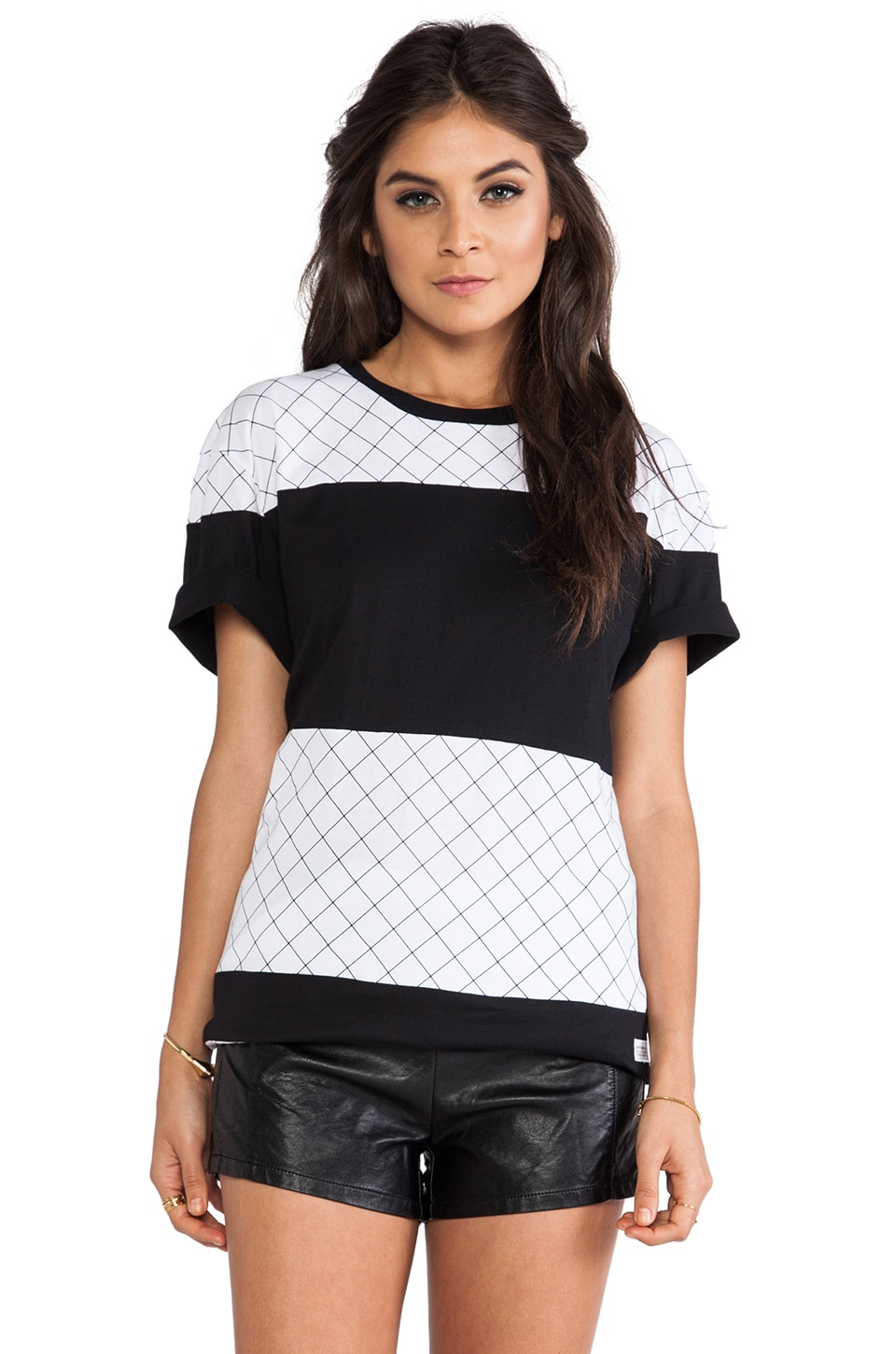 Stampd Gridded Panel Tee in Black & White