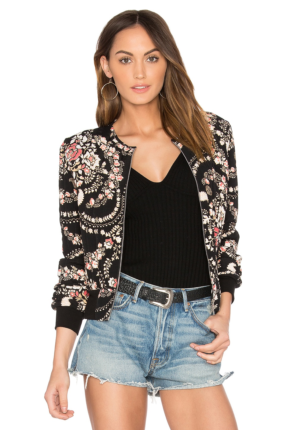 Steele Dylann Bomber Jacket in Black Florete