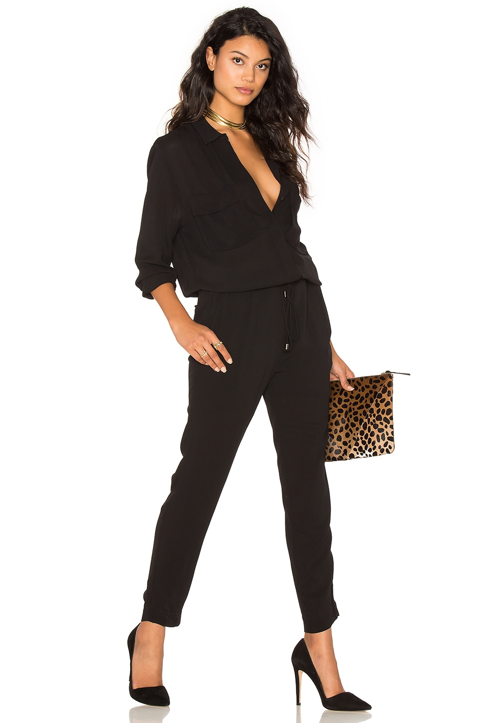 STELLA FOREST Collared Long Sleeve Jumpsuit in Noir