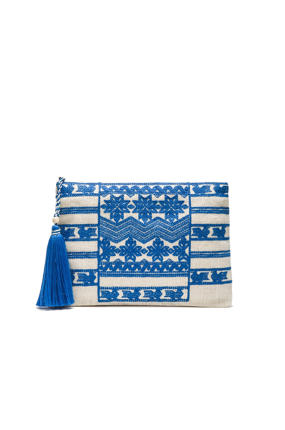 Star Mela Leila Embroidered Purse in Ivory & Blue