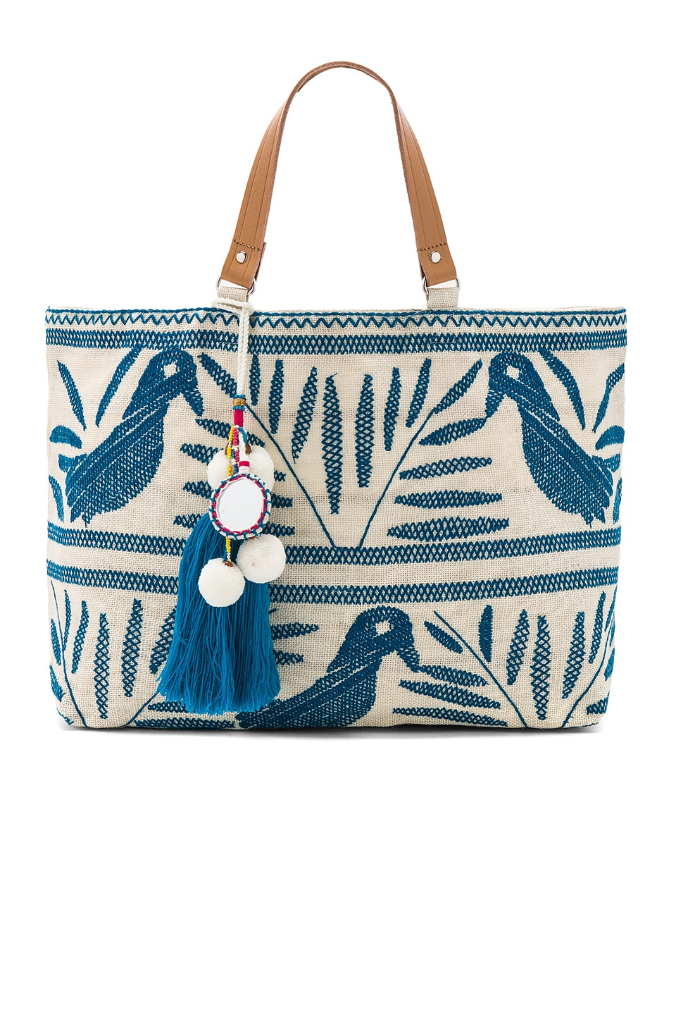 Star Mela Isi Embroidered Tote Bag in Ivory & Blue
