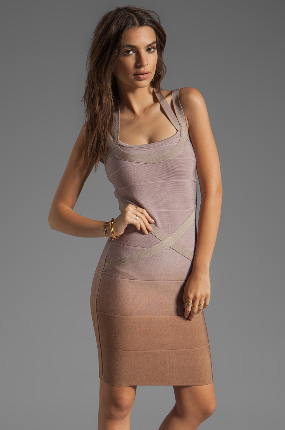 Stretta Ciara Dress in Beige Ombre
